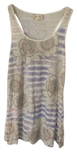 Miss Me Top White And Blue Stripes With Flower Print