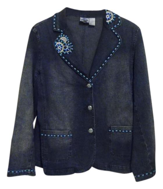 DG2 by Diane Gilman Blue Turquoise Color Embellished 14l Jacket Size 14 (L) DG2 by Diane Gilman Blue Turquoise Color Embellished 14l Jacket Size 14 (L) Image 1