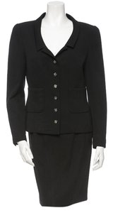 Chanel Black Jacket Blazer Skirt Suit Wool Silk CC Logo Gripoix Buttons