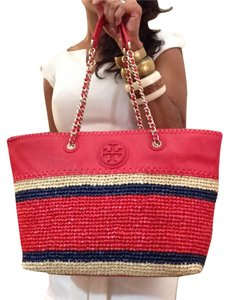 Tory Burch Leather Canvas Mesh Beach Tote in Red/Blue/Brown