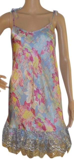 Item - Blue / Pink /Yellow / Gold Above Knee Night Out Dress Size 6 (S)