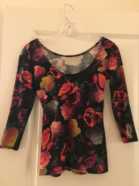 Guess Jersey Floral Scoop Back Ballerina Stretchy T Shirt Multi