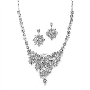 Mariell Top Selling Crystal Statement Necklace Set For Weddings 4184s-s
