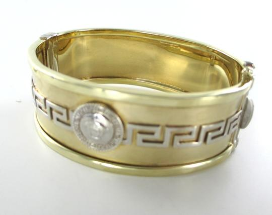 Other 14KT YELLOW & WHITE GOLD BRACELET BANGLE GREEK KEY MEDUSA BAG 585 FINE JEWELRY