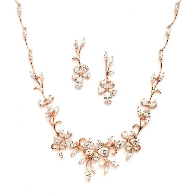 Item - Rose Gold Elegant Vine Cz and Earrings Set Or Evening Wear 4233s-rg Necklace