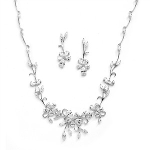 Mariell Silver Elegant Vine Cz and Earrings Set For Or Evening Wear 4233s-s Necklace