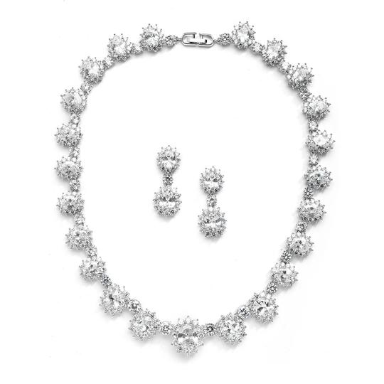 Mariell Regal Wedding Necklace Set With Round Cz Stones 4238s