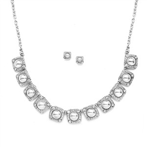 Mariell Silver Vintage and Earring Set with White Pearls 4244s Necklace