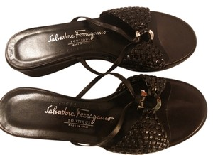 Salvatore Ferragamo Made In Italy Rubber Soles Black Sandals