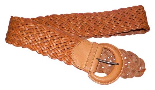 Theory Theory Brown Tan Weaved Leather Belt