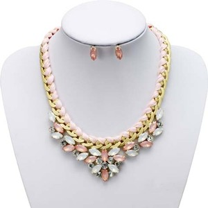 Mariell Pink Opal Statement Necklace Set With Pink Threaded Chain 4316s-pk-g