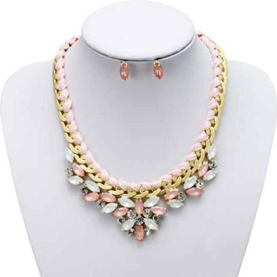 Mariell Pink Opal Statement with Threaded Chain 4316s-pk-g Necklace