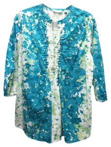 Liz Claiborne Floral Print Blouse Casual Cotton Relaxed Loose Fit Comfortable Flowy Flowers Design Pattern New York Spring Summer Tunic