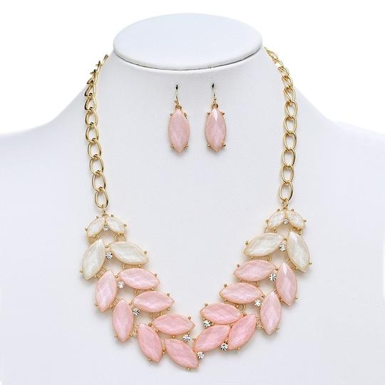 Mariell Shimmering Pink Multi Leaves Statement Necklace & Earrings Set 4324s-pk-g