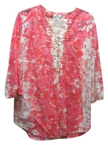 Liz Claiborne Floral Cotton Blouse Casual Relaxed Coral Peach Loose Fit Flowy Large Machine Washable Fashion Button Drapey Pleated Tunic