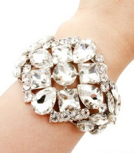 GLAM-IT-UP! BOLD SILVER TONE BANGLE WITH CHUNKY RHINESTONES