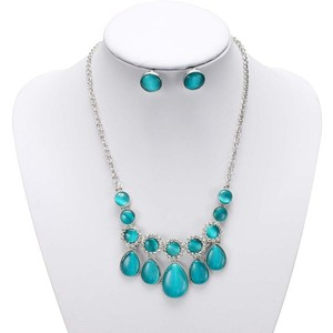 Mariell This Is Not A Typo! Teal Faux Cat's Eye Jeweled Neck Set 4314s-te-s
