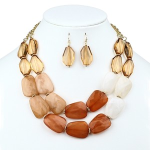 Mariell Chunky Champagne Brown Statement Necklace & Earrings Set For Prom Or Homecoming 4306s-br-g
