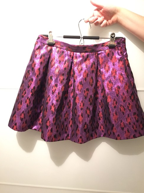 French Connection Funky Party Statement Colorful Skirt metallic purple and red leopard print