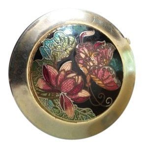 Other Vintage Cloisonne Pill Box with Butterfly & Flower