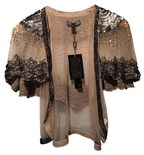 Item - Sheer with Silver Sequins and Beads Vintage Beaded Gatsby Formal Evening Cardigan Size 8 (M)