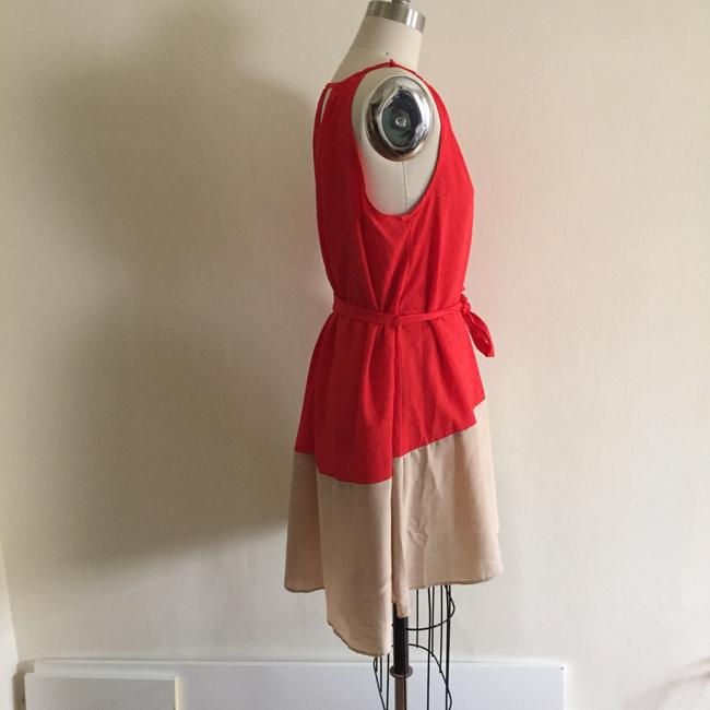 Peppermint short dress red and beige on Tradesy