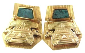 Other 18K YELLOW GOLD EARRINGS INDIGENOUS NATIVE INCA MAYAN AZTEC PRECOLUMBIAN WARRIOR