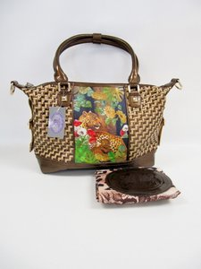 Sharif Metallic Woven Satchel in Brown