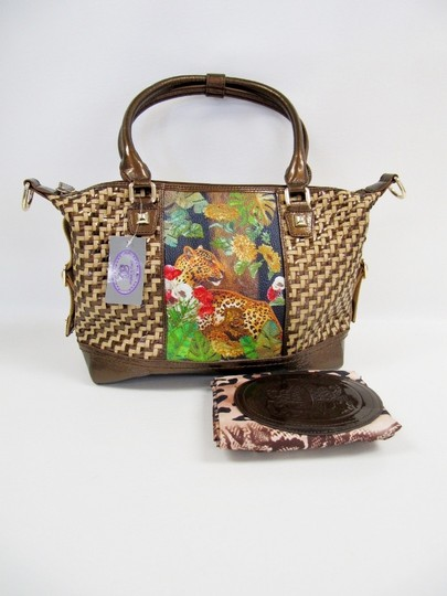 Sharif Metallic Woven Painted Leopard Tote Handbag Satchel in Brown