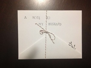 White Note To My Husband Card