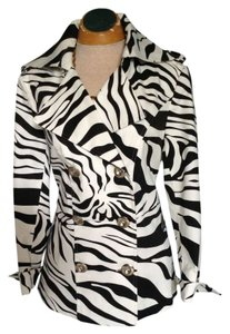 City Girl by Nancy Bolen Zebra Mod Lightweight Doublebreast Jacket Trench Coat