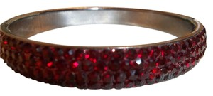 A.B.S. by Allen Schwartz ABS Allen Schwartz Hematite Tone Blood Red Crystal Bangle Bracelet NWT $45