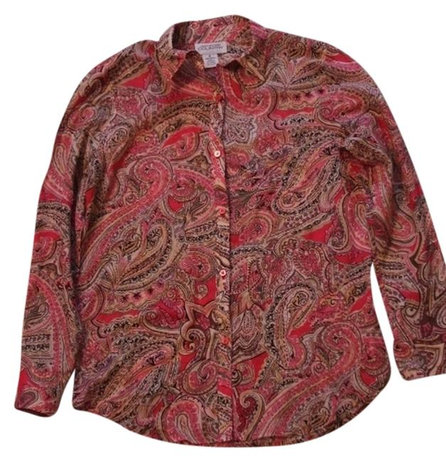 Jones New York Paisley Button Down Shirt Pinks,Brown,Yellow and Green