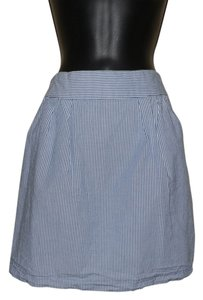 Guess Striped Mini Cotton Mini Skirt Blue & White