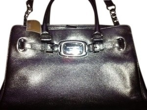 Michael Kors Leather Tote in Metallic Silver