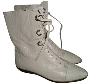 Nando Muzi Leather Lace Up Vintage Cream Lace Up Cream White Boots