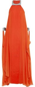 Red Maxi Dress by Diane von Furstenberg Yakira Lily Silk Chrome Silver Cuff Maxi