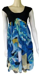 Suzi Chin for Maggy Boutique short dress Multi-color Silk Teal Black Slinky Empre on Tradesy