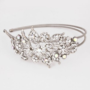 Bedazzling Rhinestone Crystal Flower Accent Silver Rhodium Headband Jewelry Bridal Wedding Party Accessory