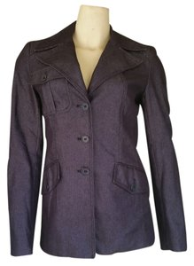 Karen Millen Denim Navy Blazer Navy Blue Jacket