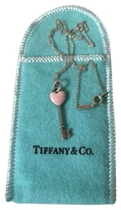 Tiffany & Co. Tiffany Enamel Pink Heart Key Pendant W/chain
