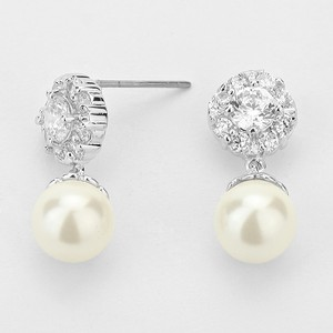 Elegant Crystal Accent Cluster and Pearl Drop Evening Earrings Bracelet