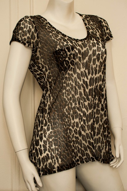 Theory Oversized Silk Loose Fit Animal Print Cheetah Print Leopard Boatneck Short Sleeve Spring Summer Fall Crewneck Boat Neck Top taupe, white, black, brown
