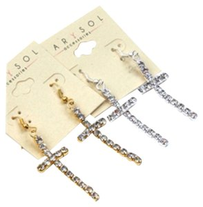 Bundle For 2 Pairs Of Gold & Silver Rhinestone Cross Dangle Hook Earrings