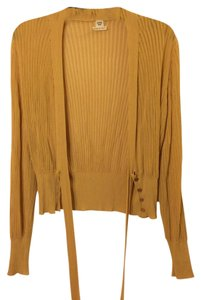 Herms Ribbed Yellow Belted Cardigan