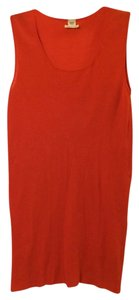 Herms Long Cotton Scoop Neck Top Red Orange