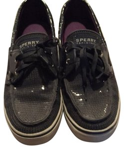 Sperry Black Clear Sequin Flats