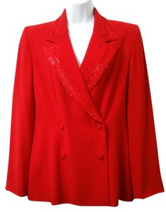 Badgley Mischka Double Breasted Cocktail Red Jacket Blazer