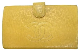Chanel Chanel Caviar Neon Yellow Leather Wallet Classic Flap CC Logo CCWLM37