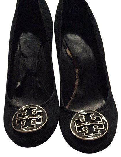 Tory Burch Black Silver Wedges